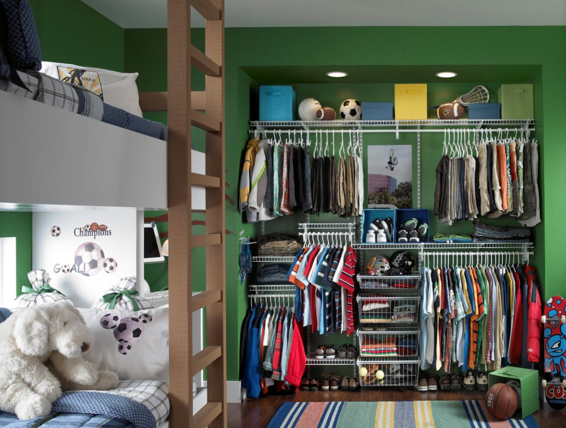 An Adjustable Wire Shelving System Like ClosetMaid ShelfTrack Can Be Reconfigured As Your Child Grows