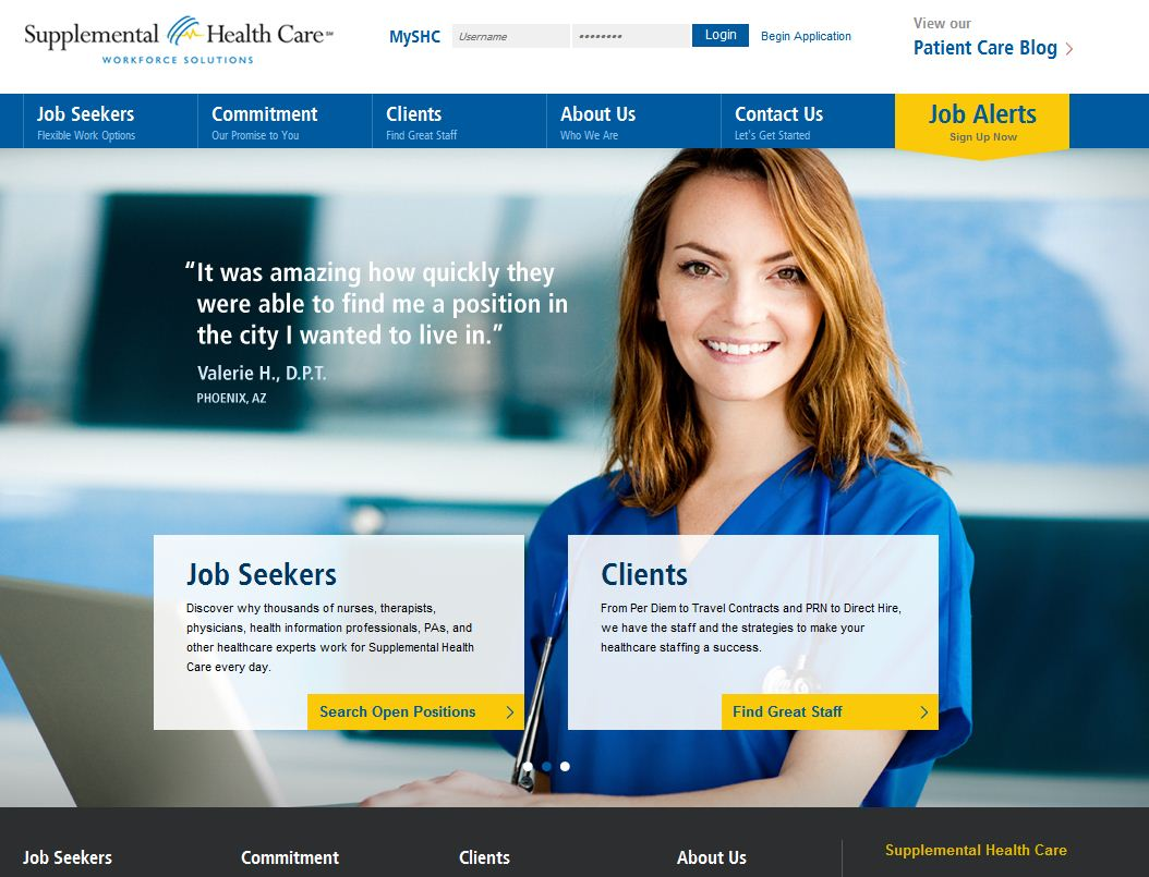 SUPPLEMENTAL HEALTH CARE EARNS INTERACTIVE INDUSTRY ACCOLADES